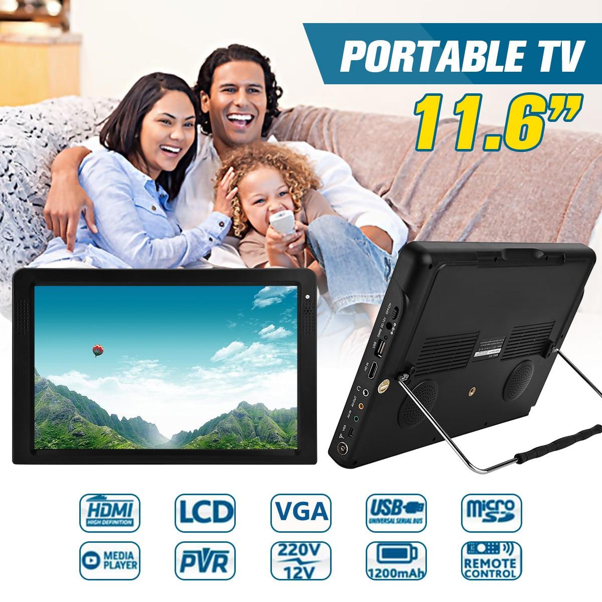 Lecteur de télévision Portable 11.6 pouces TFT HDMI VGA ATSC. M/H numérique analogique AC/DC 12 V DOLBY voiture/maison/hôtel LED TV