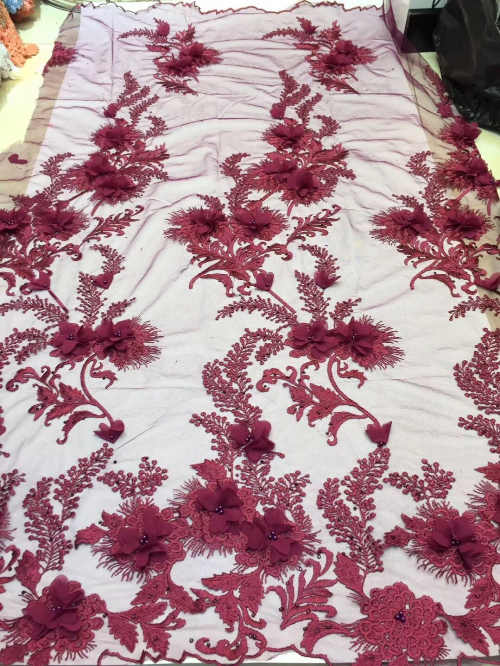 2019 African Lace Fabric red High Quality Flower 3D Applique Heavy Beaded Bridal Lace Fabric For