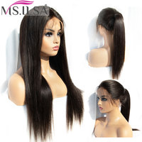 360 Lace Frontal Wigs For Women Light Yaki Straight Remy 150 Lace Wig Full End With Baby Hair Pre Plucked Natural color MS.ILSA