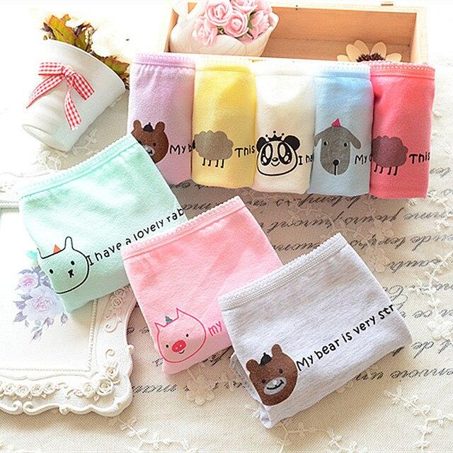 80340536b2a New Fashion 4Pcs Lot Girl Panties Cartoon Underwear Cotton Briefs Set Cute  Lingerie Soft Comfortable for 12-20Y Female Panty