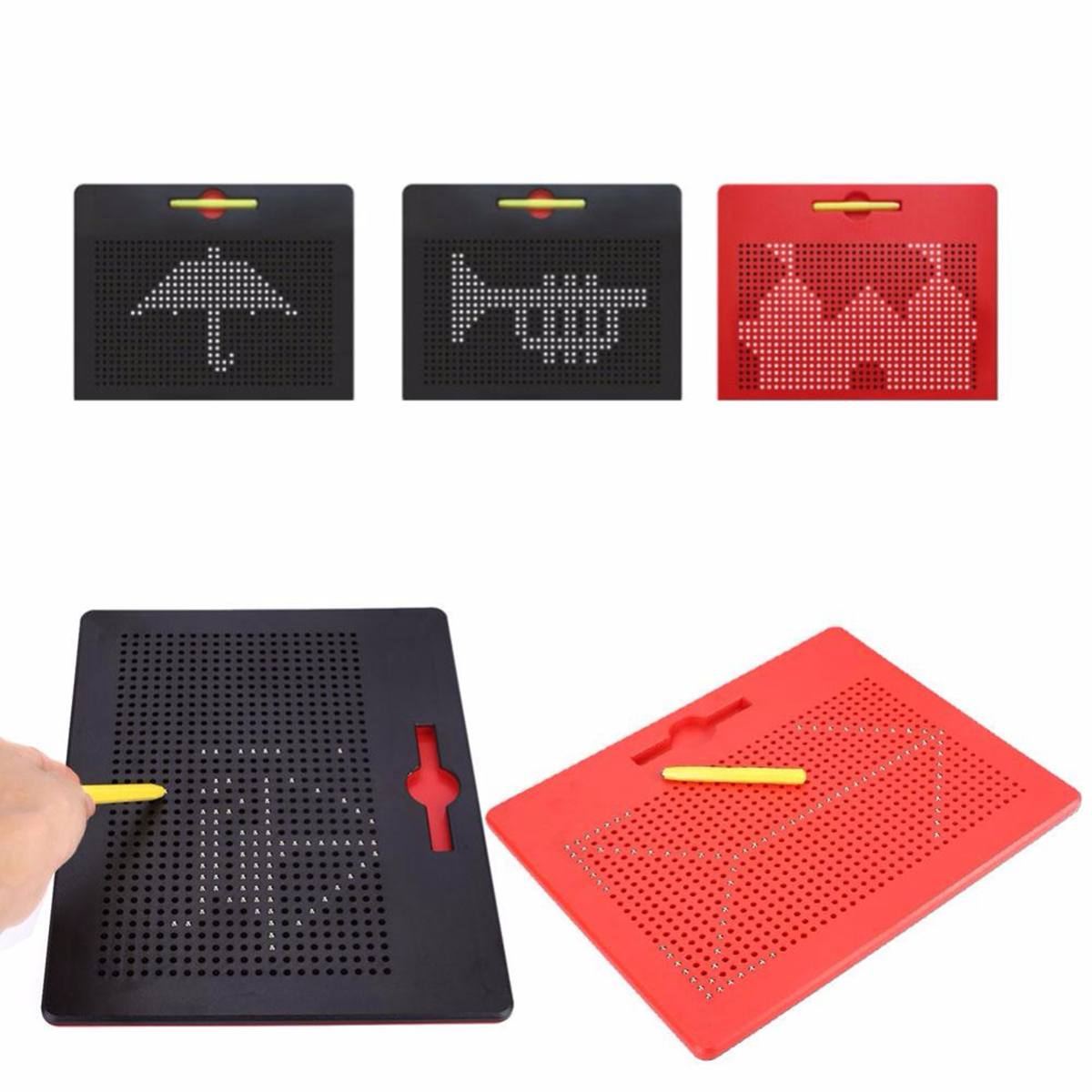 Large Magnetic Tablet Magnet Pad Drawing Board Bead Magnet Stylus Pen Bead Learning Educational Writing Memo Board Kid Toy