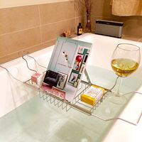 Bathtub Trays Bath Tub Caddy Tray Glass Bath Screen Storage Wine Holder Champagne Flute Rack Bathroom Products