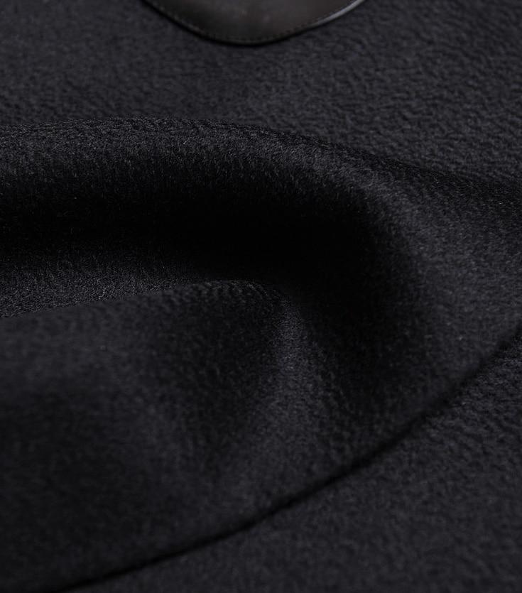 Patchwork Retour Automne Femmes Double Wb94301 Laine Vêtements Manteau De D'hiver Black À Lâche Et Pardessus Pu Boutonnage Mode 2018 Nouveau S5wxYqT5