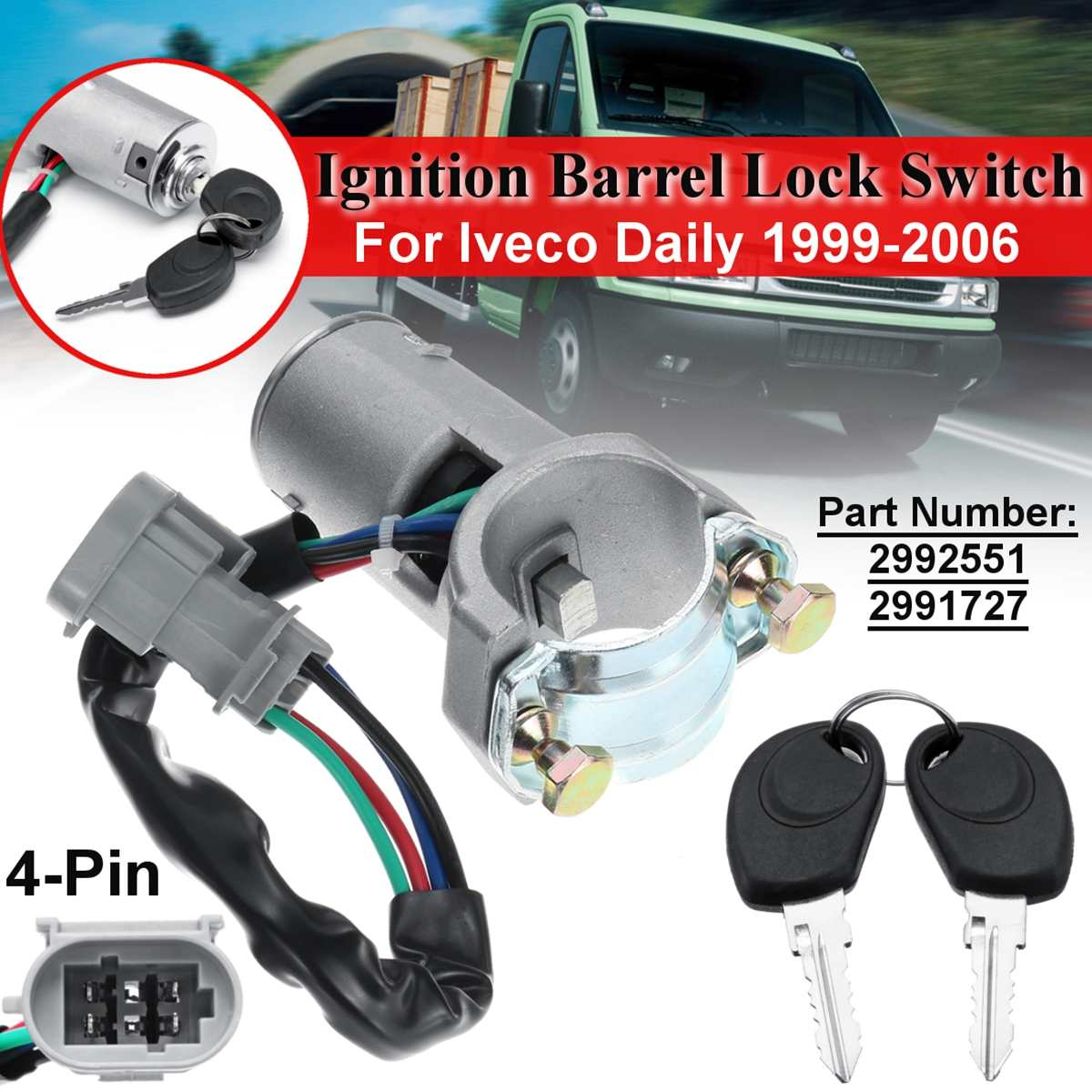 Switch Control Signal Sensor 2992551 2991727 Ignition Barrel Key Ignition Switch Barrel Door Lock Barrel For Iveco Daily 2000-2006 Door Lock Set Automobiles & Motorcycles