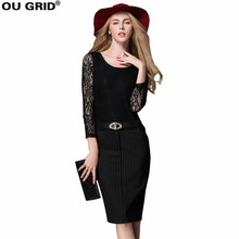 Women Black Lace Work Dress Patchwork Hollow Out Long Sleeve Lady Slim Sheath Office Dress Plus Size Pencil Dress With Belt(China)