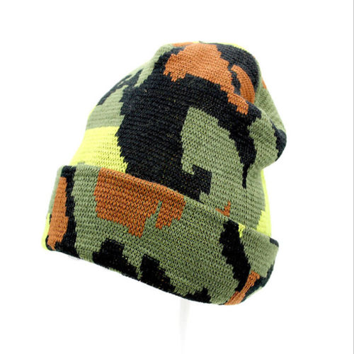Unisex Camouflage   Skullies     Beanies   Knitted Winter Warm Slouch   Beanie   Crochet Wool Baggy Cap