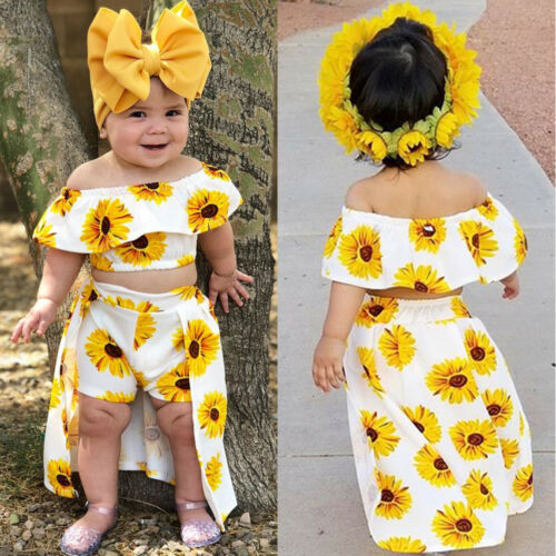 Fashion Toddler Newborn Kids Baby Girl Sunflower Off Shoulder Crop Tops Shorts Dress Headband Outfits Cute Clothes