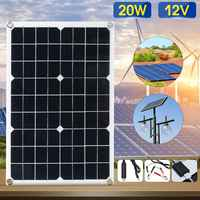 Best Price 20W 12V Solar Panel USB Monocrystalline Solar Panel with Car Charger for Outdoor Camping Emergency Light Waterproof