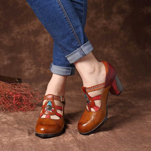 SOCOFY Elegance Vintage Hollow Out Chunky Heel Leather Pumps Stitching Weave Hook Loop Retro Shoes Women Bohemian Pumps New 5