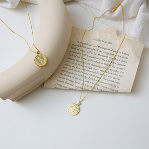 Vintage Gold Long Chain Sweater Necklaces Carved Rose Flower Abstract Human Face Pendant Necklaces For Women Korean Jewelry(China)