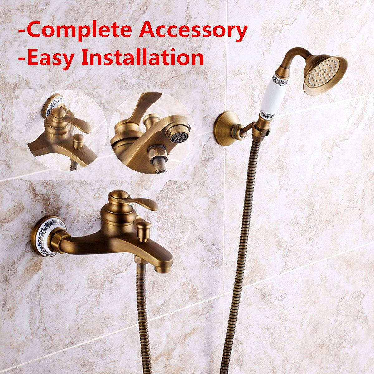 Antique Brass Shower Faucet Sets Head Bathroom Faucets Bath Tub Spout Hand Shower Wall Mounted Held Mixer Tap Spray Waterfall