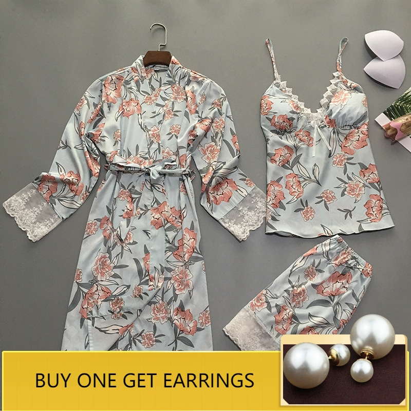 QWEEK 2019 Women Satin   Pajama     Set   Lace Pyjama Sexy Silk Pijama Summer Pigiama Sexy Flower Print 3 Piece   Set   with Chest Pads