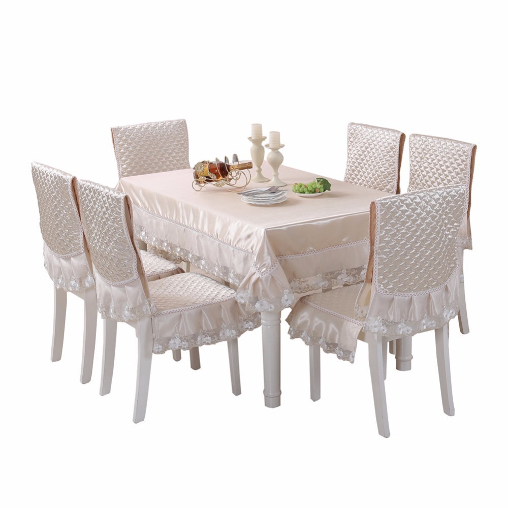 Brief Solid Table Cloth Satin Lace Chair Cover Cushion Large Size Rectangle Home Decor Tablecloth toalha