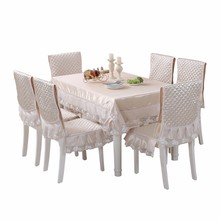 Europe Brief Solid Table Cloth Satin Lace Chair Cover Cushion Large Size Rectangle Home Decoration Tablecloth