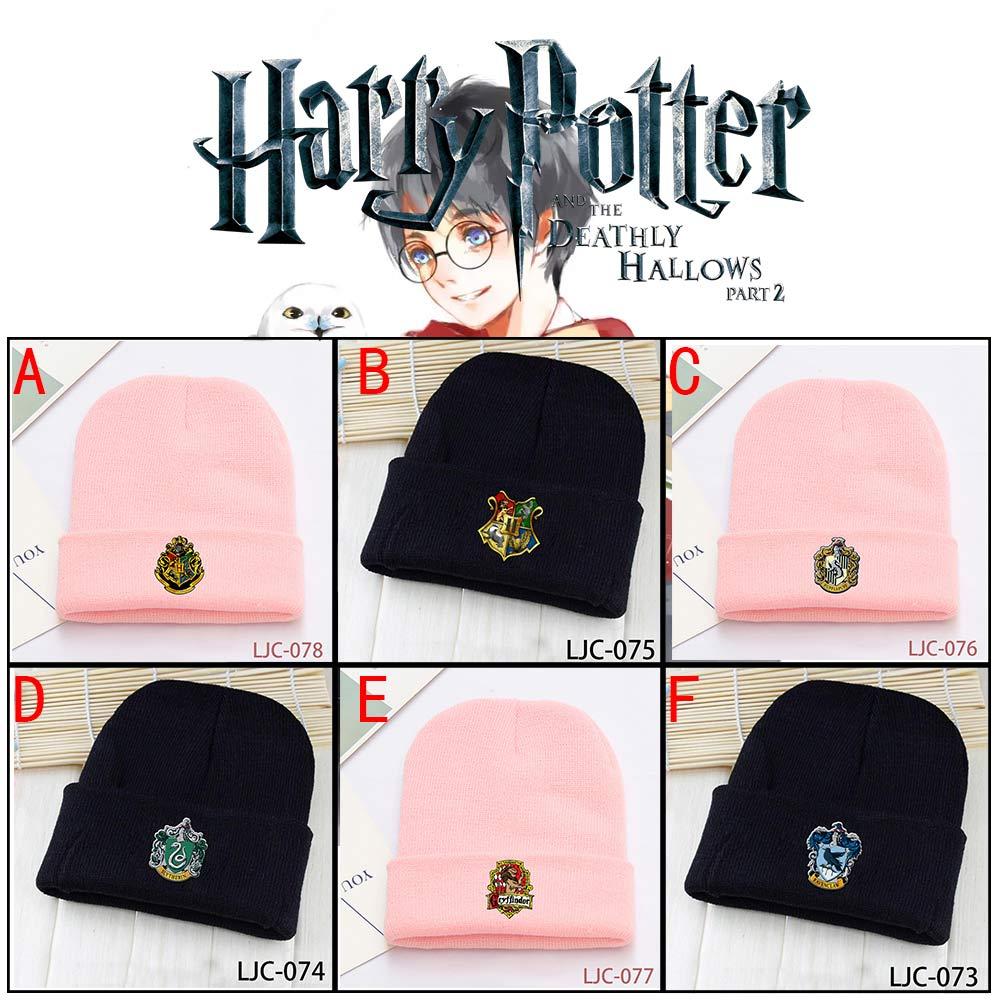 Wellcomics Harri Potter Hogwarts Gryffindor Hufflepuff Slytherin Ravenclaw Skullies Beanie Knitted Cotton Hat Cap Warm Costume