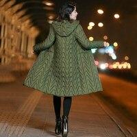 Women'S Army Green Hooded Coat Parkas Outwear Long Winter Jacket Plus Size Casual Bomber Jacket Parkas