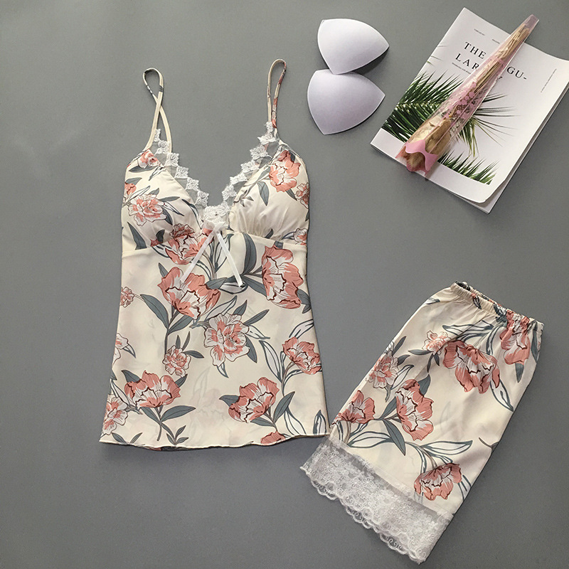 2019 Summer Women   Pajamas     Sets   With Shorts Satin Sleepwear Flower Print Pyjama Silk Sleeveless Nightwear With Chest Pads Pijama