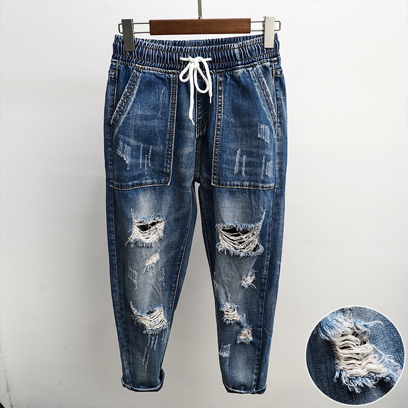 Spring New Jeans Men Fashion Washed Casual Torn Holes Denim Pants Man Streetwear Hip Hop Loose Cowboy Trousers Male Clothes