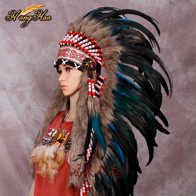 Turquoise Indian Headdress Feather Headdress Indian War Bonnet Indian Feather Costume Feather Hat