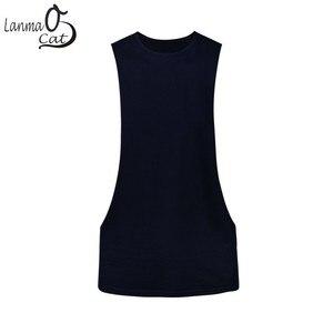 Image 2 - Lanmaocat פיתוח גוף בגדי עבור גברים Loose כושר גופייה מותאם אישית הדפסת פתוח צד ספורט אפוד כושר משלוח חינם
