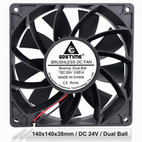 Gdstime 14038 DC 24V 2Pin 140mm 14cm 140x140x38mm 223CFM Dual Ball Bearing Powerful Cooling Fan