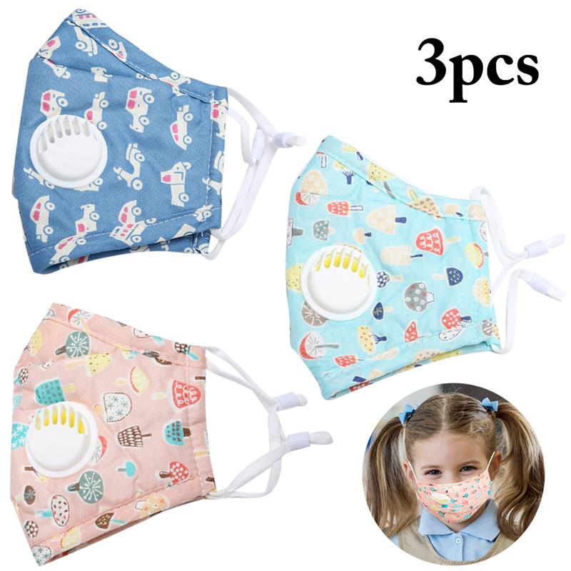 3PCS Cute Soft And Comfortable Mouth Mask Cute Print PM2.5 Dustproof Cotton Mask Face Mouth Mask For Kids