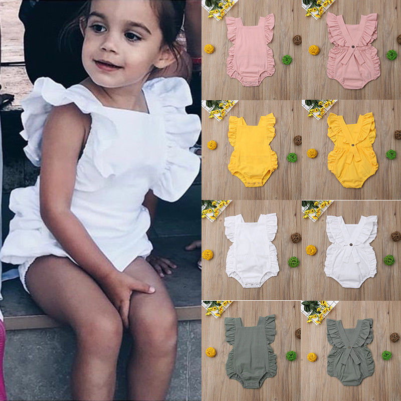 Infant Newborn Baby Girls Summer Ruffle Solid Color   Rompers   Sleeveless Jumpsuit Outfit Sunsuit Clothes