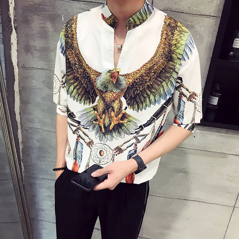 2019 Summer New Men's Ice Silk Shirt Five Points Sleeve Thin Section Collar Youth Flower Cartoon Streetwear Black Free Shipping