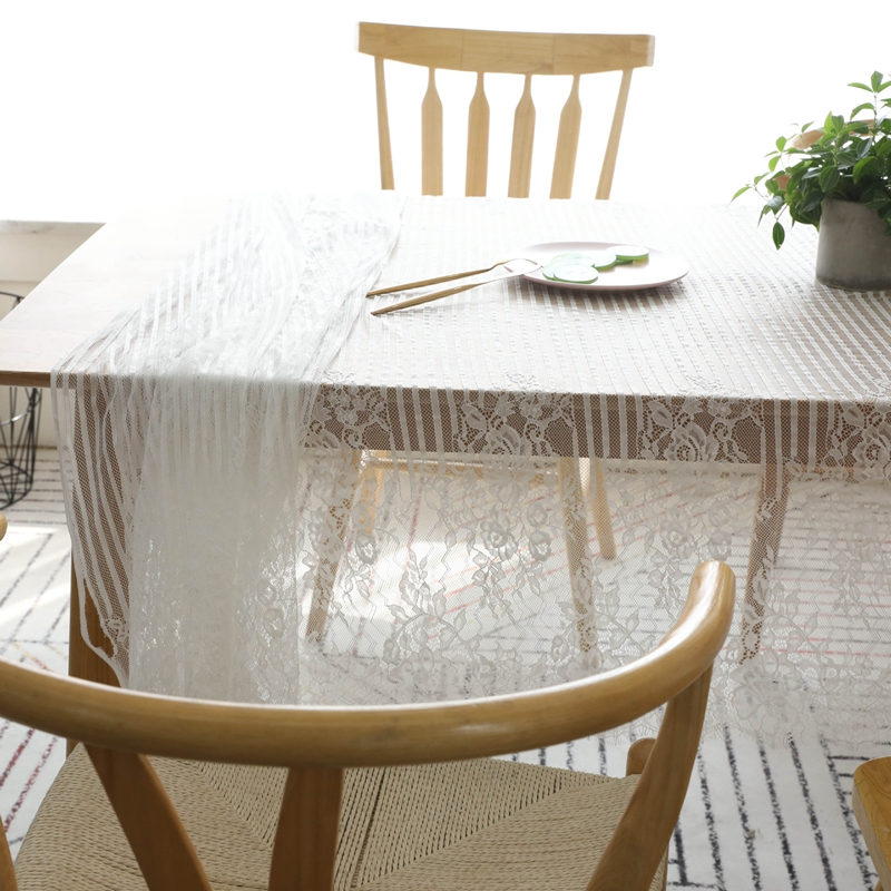 White Lace Table Cloth Wedding Party Decor Translucent ...