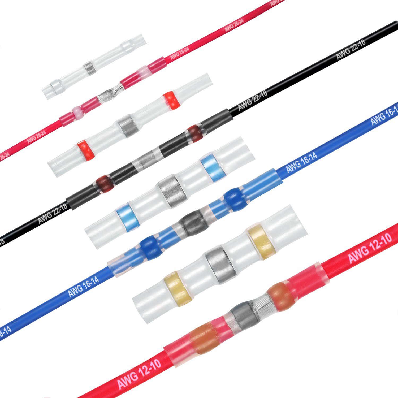 120 個はんだシールワイヤーコネクタ、熱収縮バットコネクタ防水絶縁電気バット端子ワイヤスプライスのため
