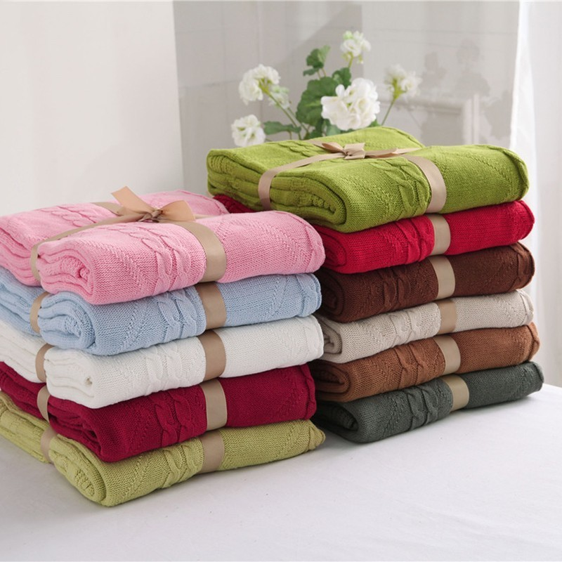 Bedding Shop For Cheap Spring Cable Knit Blanket For Bed Sofa 50% Wool Warm Blanket 5 Color Inch 74x70 Home & Garden