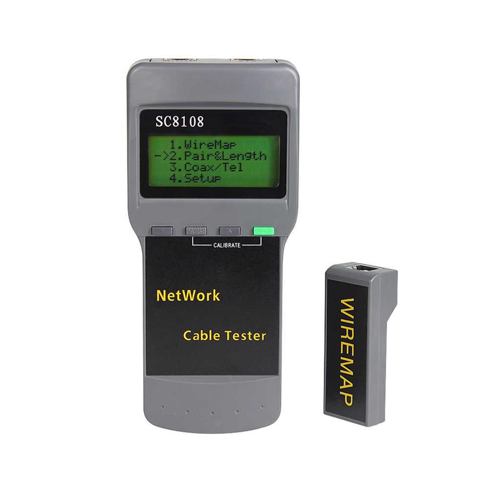 جهاز اختبار شبكة LCD SC8108 محمول متعدد الوظائف لاسلكي CAT5 RJ45 LAN طول الهاتف متر كابل اختبار متر
