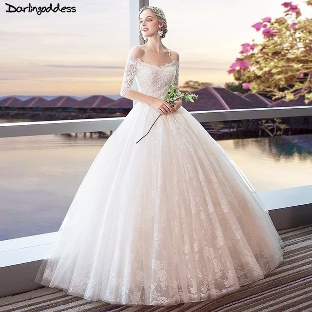 Vintage Three Quarter Length Wedding Dresses: Luxury Vintage Wedding Dress 2019 Ball Gown Off Shoulder