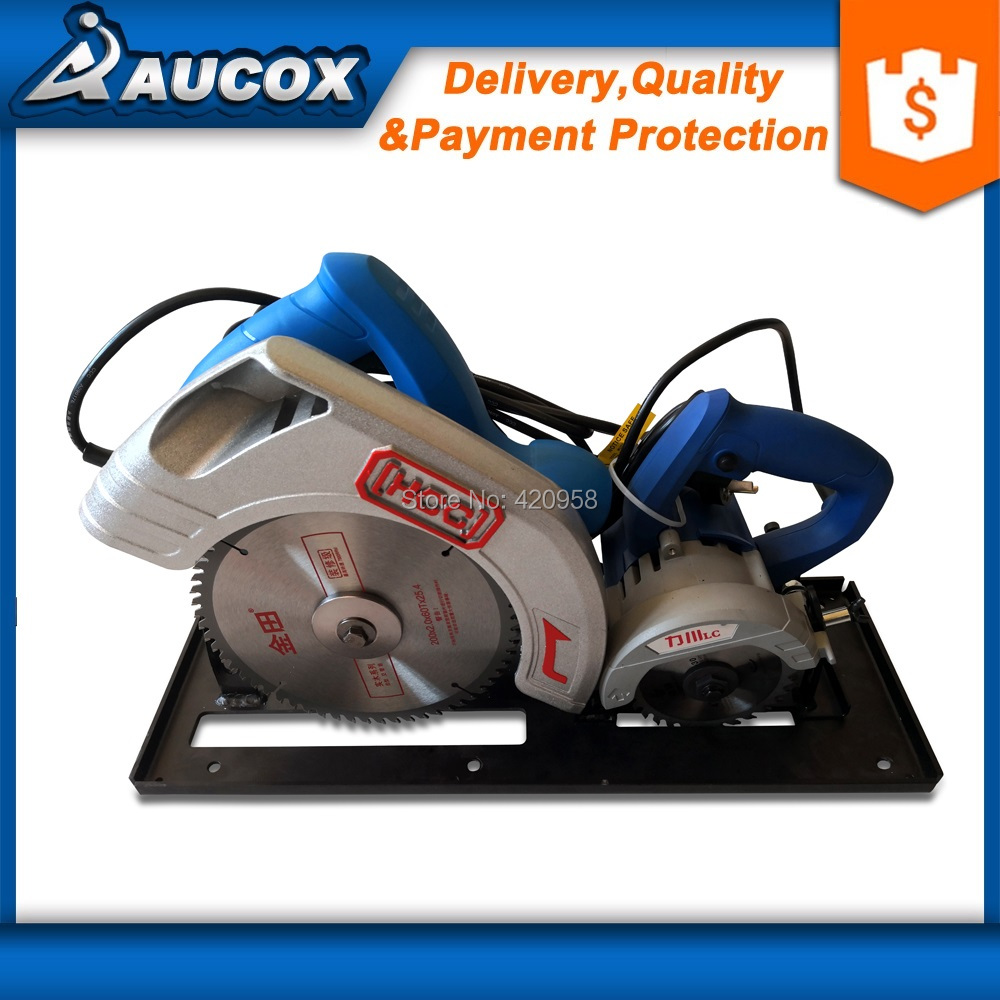 MJ09 mini 2 in 1 wood precision table panel saw with main saw and scoring saw