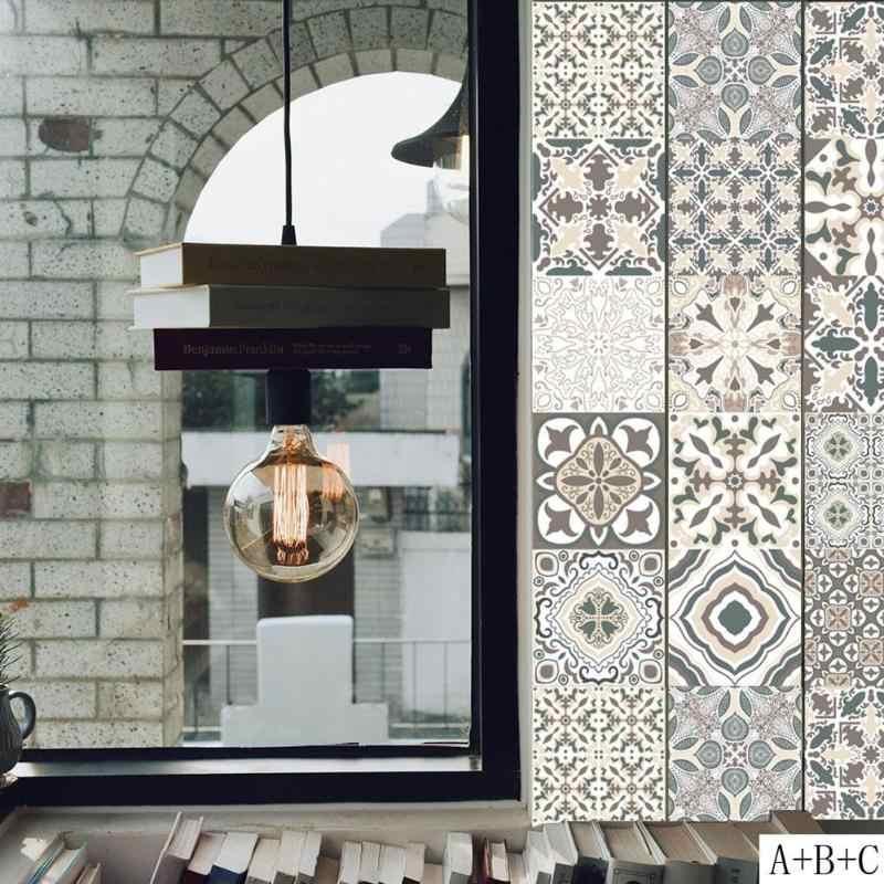 Ретро плитки наклейки на стену для ванной комнаты кухонные плиточные наклейки декоративные клейкие водонепроницаемые ПВХ наклейки на стену кухонная линия талии