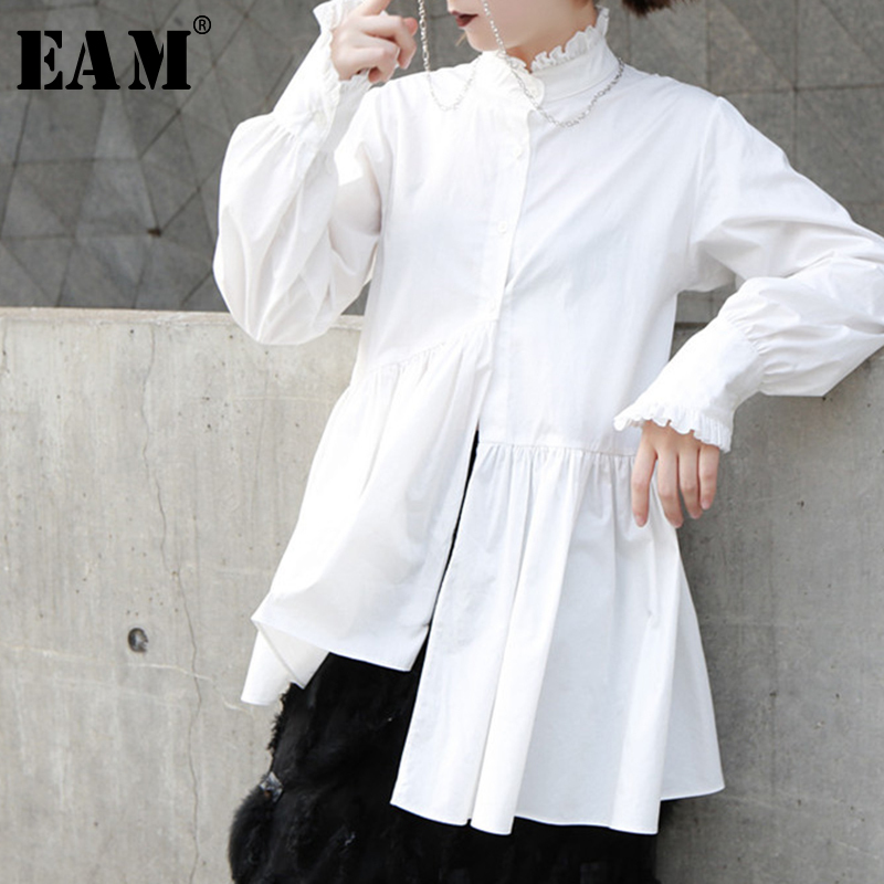[EAM] 2020 Spring Woman New Solid White Color Long Sleeve Stand Collar Single Breasted Pleated Irregular Loose Shirt LI219