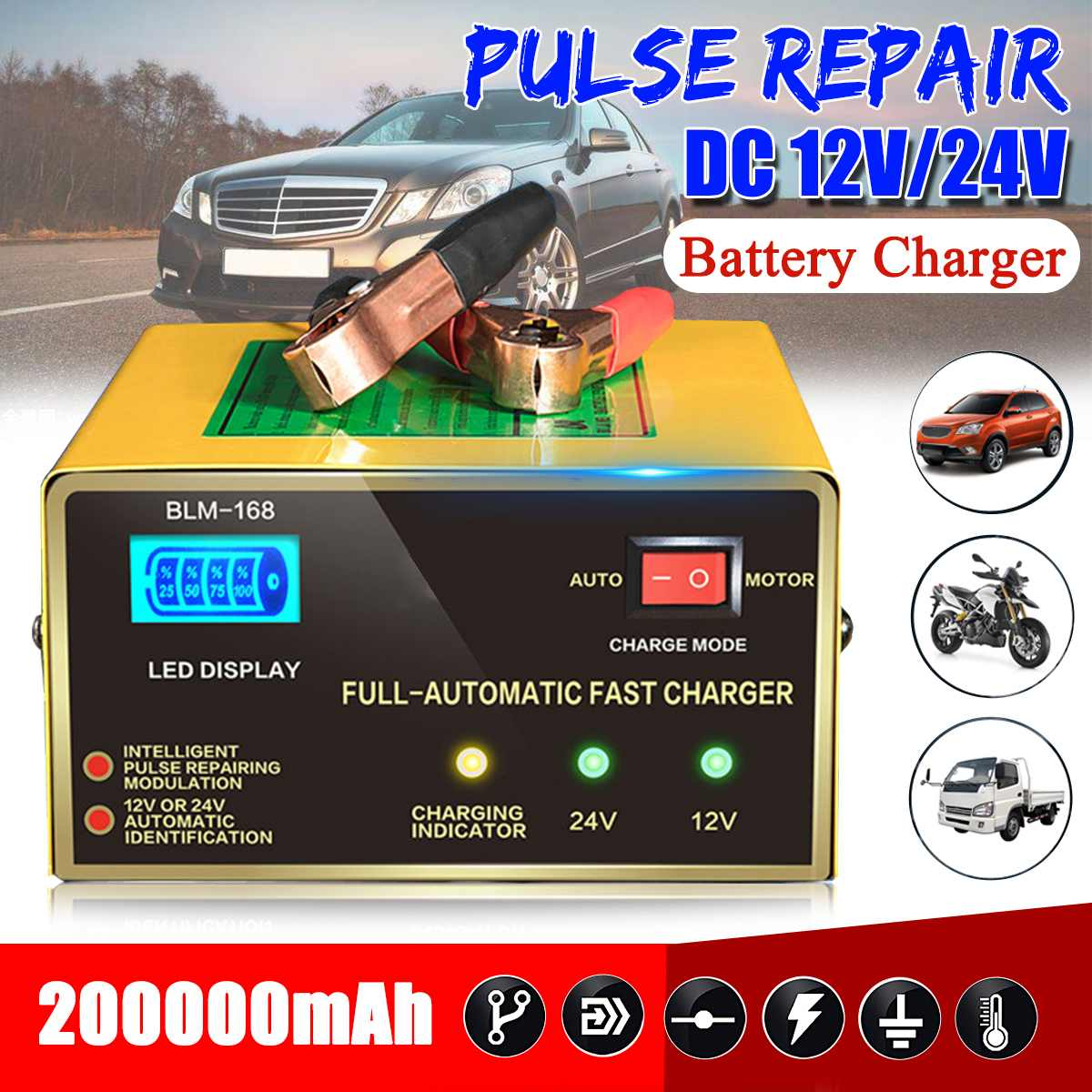 12V/24V 200000mAh Car Full Automatic Electric Lead Acid Battery Intelligent Charger Pulses Repair w/LCDFor Car Motorcycle12V/24V 200000mAh Car Full Automatic Electric Lead Acid Battery Intelligent Charger Pulses Repair w/LCDFor Car Motorcycle