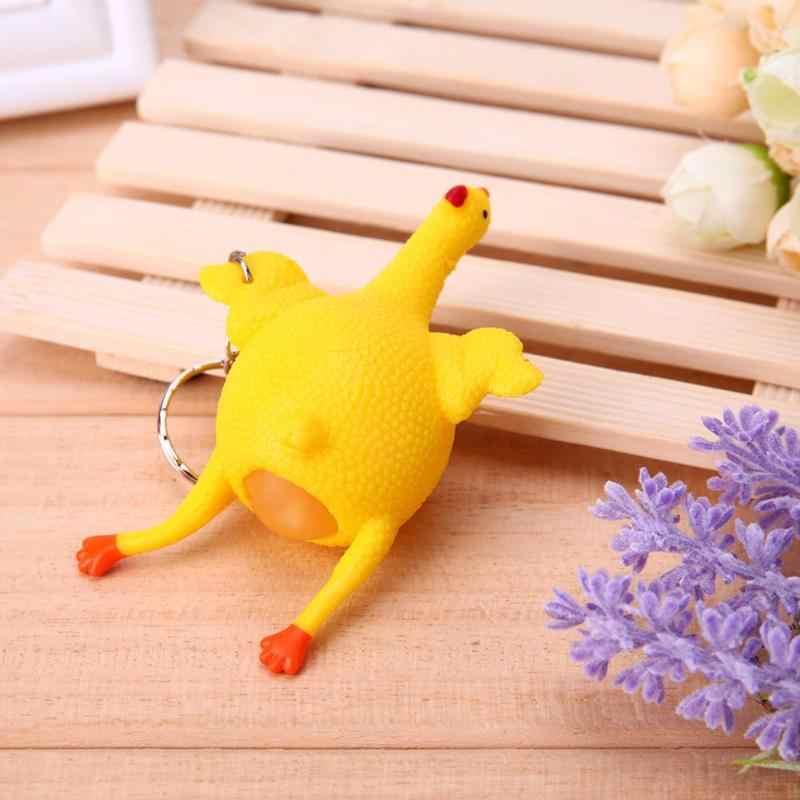 Creme Prank Joke Toy Tricky Paródia Engraçada Gadgets Ovo de Galinha Galinhas Poedeiras Lotado Stress Ball Chaveiro Chaveiro Complicado Brinquedo Crianças gif