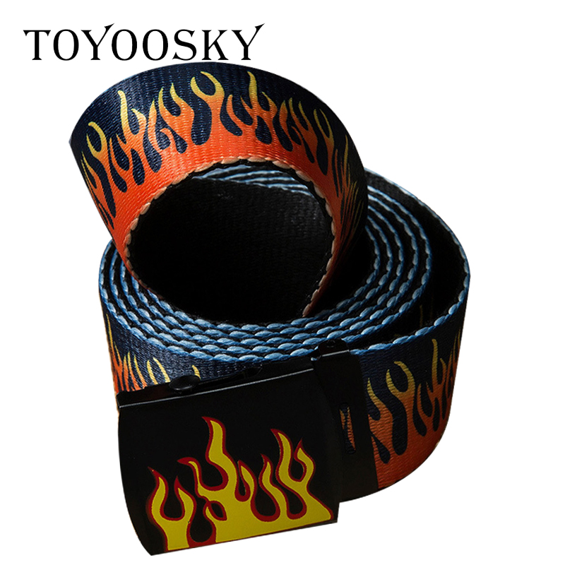 Luxury harajuku Funk   Belt   Flame Fire Unisex Canvas   Belt   Punk graffiti Designer High quality   belt   Straps for Women Men TOYOOSKY