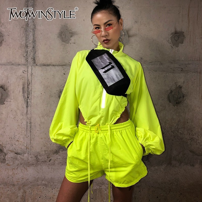 TWOTWINSTYLE Two Piece Sets For Women Stand Collar Lantern Long Sleeve Zipper Sexy Playsuits High Waist