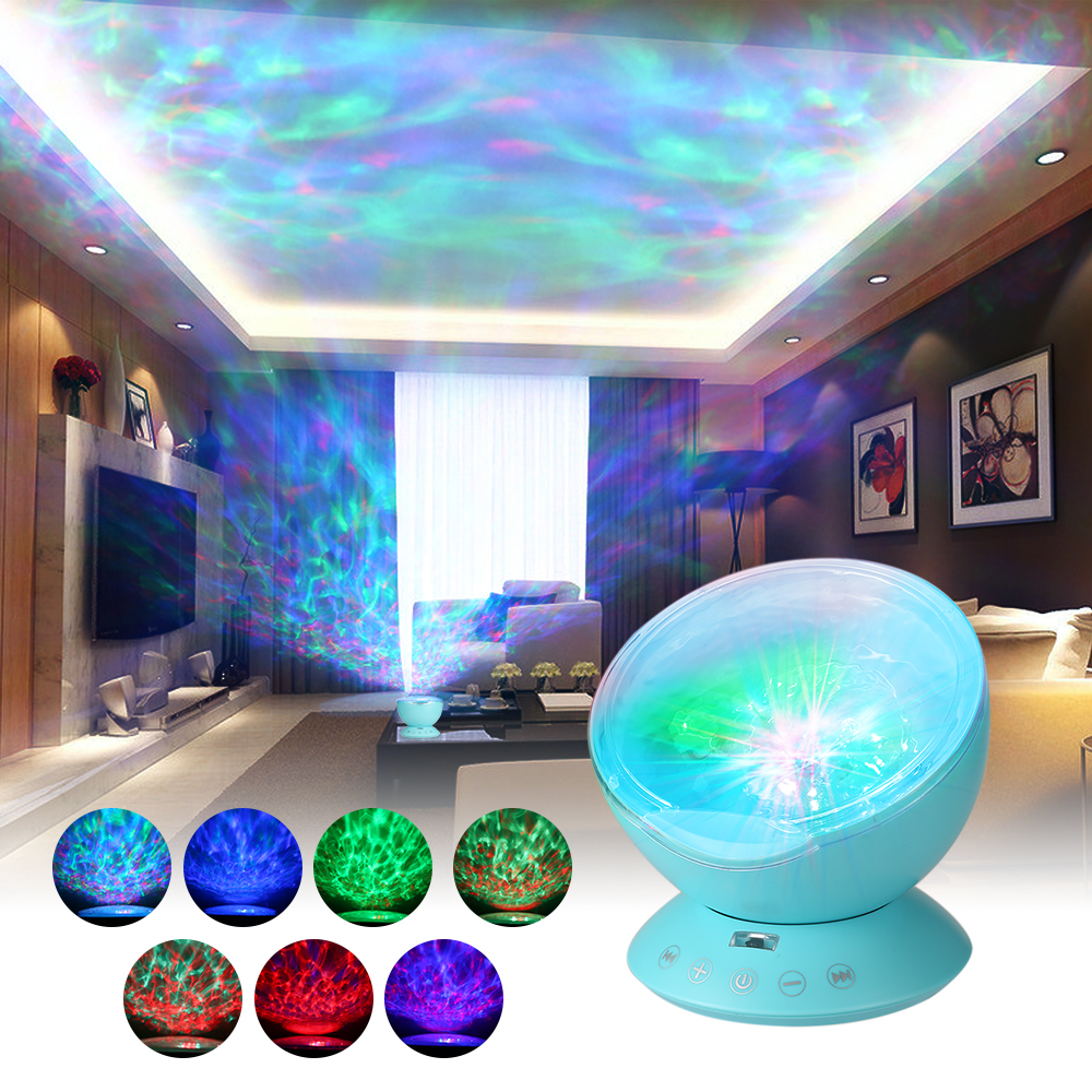 Security & Protection Loyal Remote Control Multicolor Ocean Wave Projector Nightlight Baby Lamp With Mini Music Player Fit For Any Holiday Party Decorations