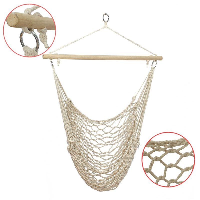 SGODDE En Plein Air Hamac Chaise Suspendus Chaises Swing Coton Corde Net Swing Berceaux Enfants Adultes En Plein Air Intérieur Offre Spéciale