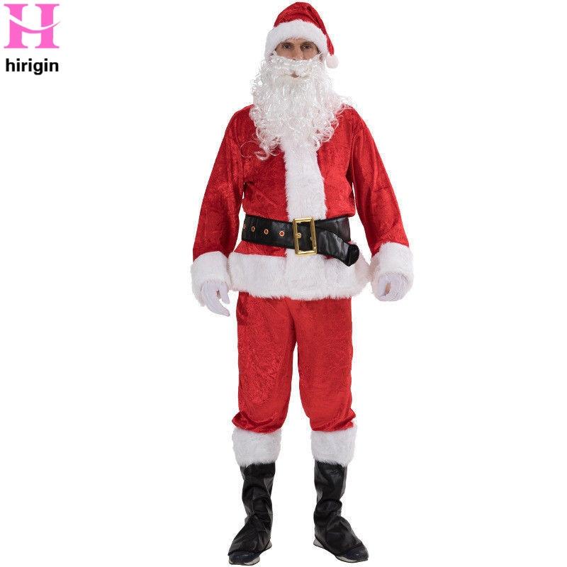 Christmas Santa Claus Costume Fancy Dress Adult Suit Cosp Lay Party Outfit 7PCS Unisex Men Women Xmas Gift Clothes Outfits