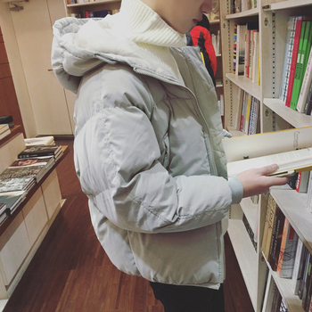 Winter Jacket Men Warm Fashion Cotton Hooded Coat Casual Loose Solid Color Parka Man Streetwear Male Clothes Outwear S-2XL