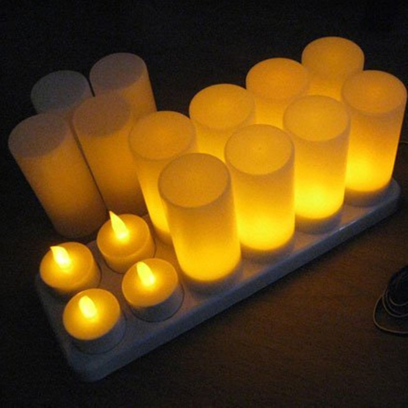 Bougies décoratives bougies d'anniversaire Led thé lumière bougies chauffe-plat fournitures de mariage de noël lumières jaunes Us Plug