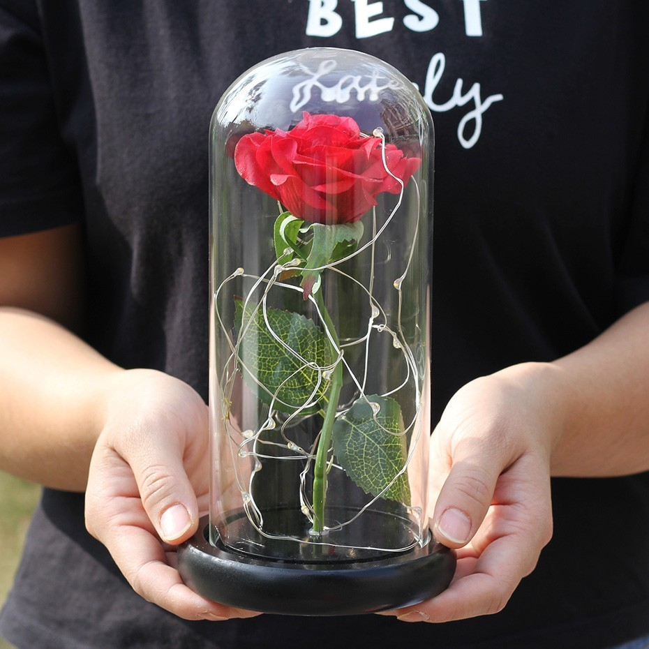 Image 4 - Beauty And Beast Rose In Flask LED Rose Flower Light Black Base Glass Dome Best For Mother's Day Valentines Day Gift-in Artificial & Dried Flowers from Home & Garden