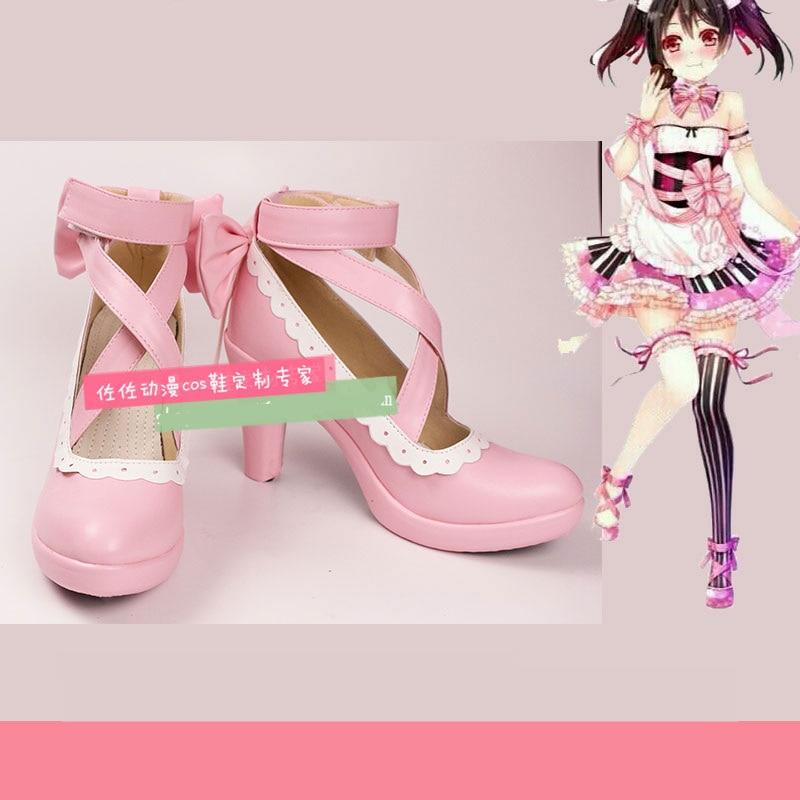 Japanese Anime Love Live Yazawa Nico Cosplay Shoes Comic Con Nico Pink Lolita High Heel Shoes any size