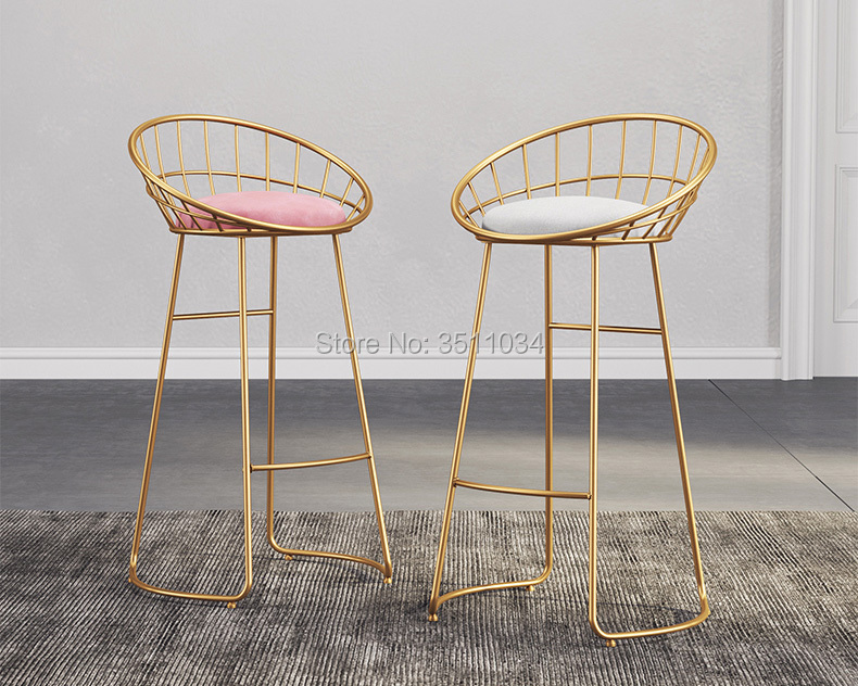 Nordic Minimalist Bar Chair 65cm/70cm/75cm  Iron Chair, Golden Stool, Modern Dining Chair, Wire Chair