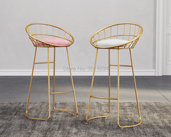 Skandynawska minimalistyczna krzesło barowe 65 cm/70 cm/75 cm krzesło żelazne  złoty stolec  nowoczesne krzesło do jadalni  krzesło druciane