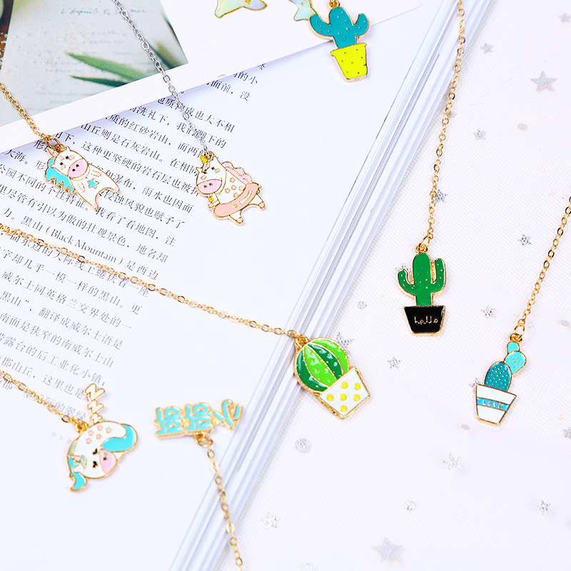 Cute Unicorn Bookmark Kawaii Cactus Gold Foil Metal Pendants Book Mark For Girls Gift Office School Supplies Korean Stationery image